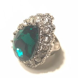 Fashion Ring Large Emerald Silver Adjustable 6+